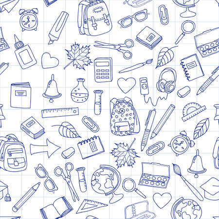 hand pen: Vector seamless pattern with doodle school tools. Hand drawn school icons. Back to school illustration on school notebook sheet of paper. Design for fashion print, wrapping, web backgrounds.