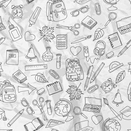 hand outline: Vector seamless pattern with doodle school tools. Hand drawn outline school icons on white crumpled paper. Back to school vintage design. Illustration