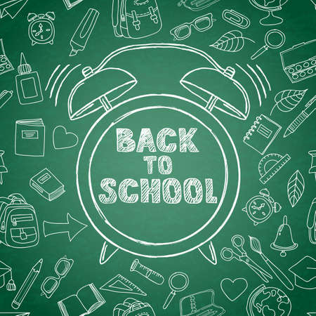 green board: Back to school vector sketch lettering and hand drawn watercolor alarm clock. Green board background with outline doodle school supplies icons. Design for poster, banner, school or education theme. Illustration