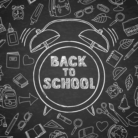 hand outline: Back to school vector sketch lettering and hand drawn watercolor alarm clock. Black board background with outline doodle school supplies icons. Design for poster, banner, school or education theme.
