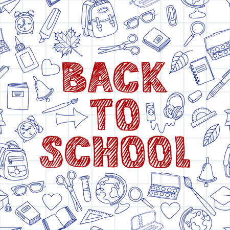 hand outline: Doodle school supplies vector background. Back to school hand drawn sketch lettering. Design for poster, banner, school or education theme. Hand drawn outline school icons on sheet of paper.