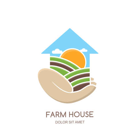 farming: Farm and farming vector, label, emblem design. Fields and farm landscape in house shape. Hand holding greenhouse. Concept for agriculture, harvesting, natural farm, organic products. Illustration