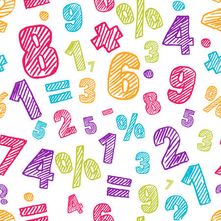 arithmetic: Sketch multicolor numbers seamless pattern. Abstract colorful vector background. Back to school, education, mathematics and arithmetic concept. Design for fashion print, wrapping, web backgrounds.