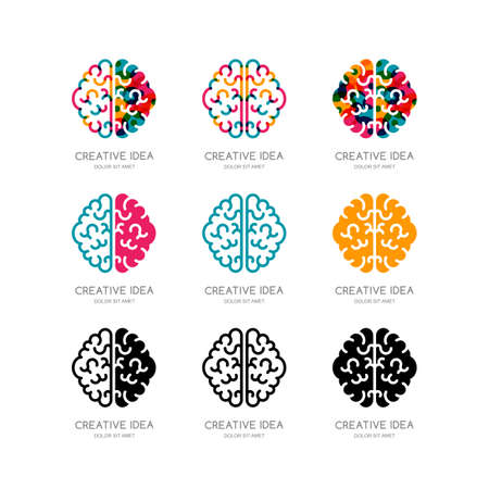 creativity symbol: Set of vector brain, sign, emblem design elements. Outline color human brain isolated symbol. Concept for business solutions, high technology, development and innovation, creativity.