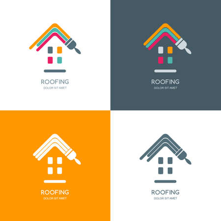 roof construction: House repair, roofing vector, label, emblem design. Staining roof of house, isolated icon. Concept for building, house construction and painting.