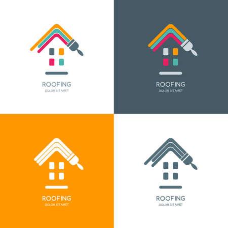 remont domu, wektor dachowe, etykieta, godło projektowania. Barwienie dach domu, pojedyncze ikony. Koncepcja budowy, budowę domu i malarstwa.