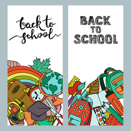 kids hand: Set of back to school sale banners with school supplies and calligraphy lettering. Vector doodle school and education illustrations. Multicolor flyer background.