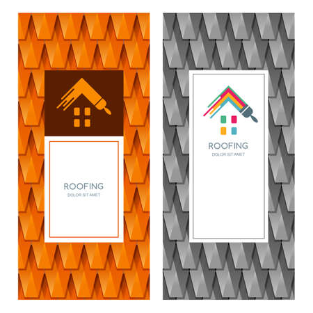 grey backgrounds: House repair and roofing vector, label, emblem design elements. Red and grey roof tile texture. Concept for building, house construction, staining and painting. Banner backgrounds.
