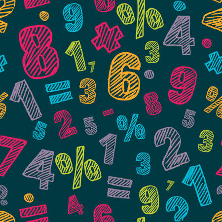 arithmetic: Sketch multicolor numbers seamless pattern. Dark colorful vector background. Back to school, education, mathematics and arithmetic concept. Design for fashion print, wrapping, web backgrounds.
