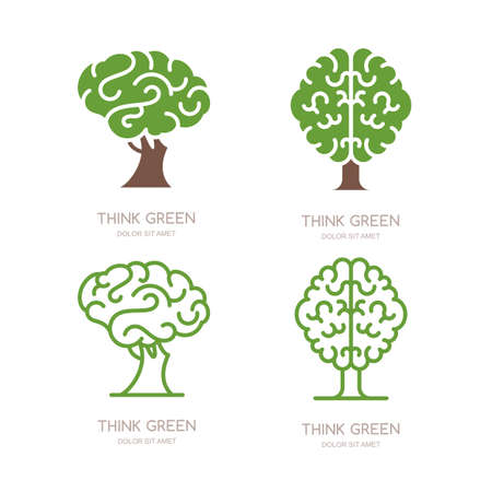 Set of vector, icon, emblem design with brain tree. Think green, eco, save earth and environmental concept. Flat outline brain tree isolated illustration.