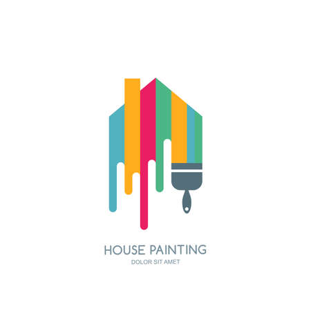 house painting: House painting service, decor and repair multicolor icon.