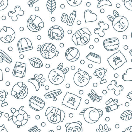 shop for animals: Vector seamless pattern with outline pets icons. Goods for animals. Design for pet shop, pets care, grooming or veterinary. Monochrome simple background for textile print, wrapping paper. Illustration