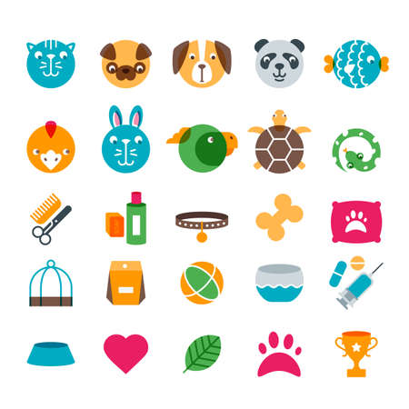 Vector pet shop, zoo or veterinary flat icons set. Color illustration of cat, dog, bird, snake, fish, rabbit, turtle. Goods for animals, Design concept for pets care and grooming.