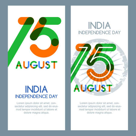 15th: 15th of August, India Independence Day. Vector multicolor banners and backgrounds. India flag colors, trendy lettering and ashoka wheel. Design for greeting card, holiday banner, flyer, poster.