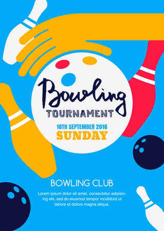 Vector bowling tournament banner, poster or flyer design template. Flat layout background with bowling ball in hand, pins and hand drawn calligraphy lettering. Abstract illustration of bowling game. Vettoriali