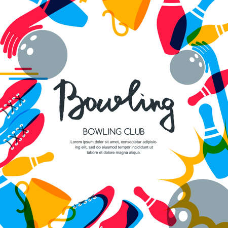 Vector bowling square banner, poster or flyer design template. Frame background with bowling ball, pins, shoes and hand drawn calligraphy lettering. Abstract illustration of bowling game.  イラスト・ベクター素材