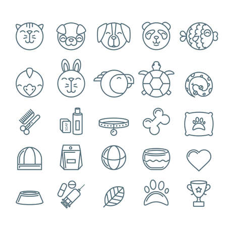 shop for animals: Vector outline pet shop, zoo or veterinary icons set. Linear illustration of cat, dog, bird, snake, fish, rabbit, turtle. Goods for animals, Design concept for pets care and grooming.