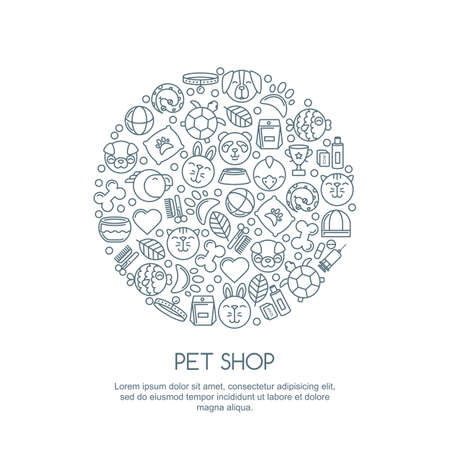 Line art illustration of cat, dog, parrot bird, turtle, snake. Goods for animals, vector outline icons set. Trendy design concept for pet shop, pets care, grooming or veterinary.
