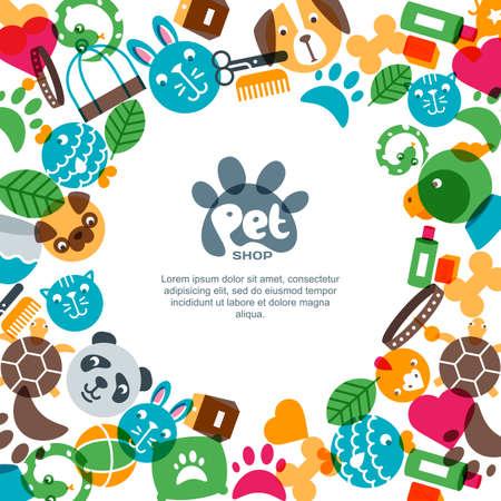 Modèle de conception de bannière, affiche ou dépliant animalerie, zoo ou vétérinaire carré.