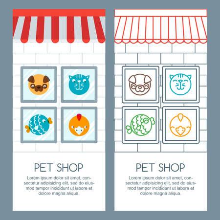 Animalerie, animaux de compagnie de soins, le concept vétérinaire. Vector bannière, affiche ou flyer template. Animaux icônes, des éléments de conception d'étiquettes. Les marchandises pour les animaux. fond de la boutique avec le chat et le chien dans la fenêtre.
