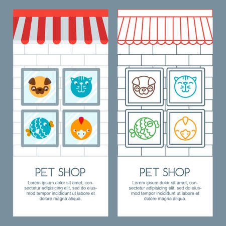 pet shop: Pet shop, pets care, veterinary concept. Vector banner, poster or flyer template. Pets icons, label design elements. Goods for animals. Shop background with cat and dog in the window.
