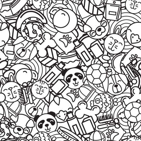 shop for animals: Vector seamless pattern with flat pets icons. Goods for animals. Design for pet shop, pets care, grooming or veterinary. Black and white trendy background for textile print or wrapping, coloring book.