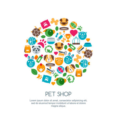 Vector flat illustration of cat, dog, parrot bird, turtle, snake. Goods for animals, multicolor icons set. Trendy design concept for pet shop, pets care, grooming or veterinary. Illustration