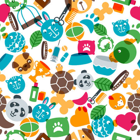 Vector seamless pattern with flat pets icons. Goods for animals. Design for pet shop, pets care, grooming or veterinary. Multicolor trendy background for textile print, wrapping paper.