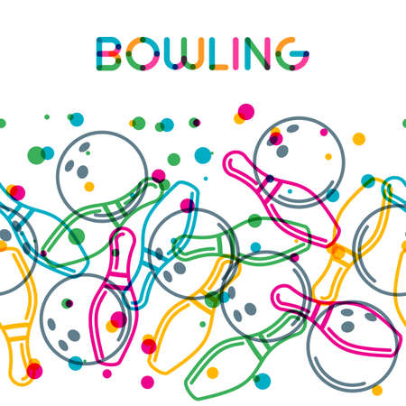 tournament: Vector bowling background with color linear bowling balls and bowling pins. Abstract multicolor illustration.