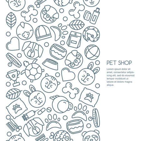 good grooming: Vector seamless vertical background with outline pets icons. Goods for animals. Design for pet shop, pets care, grooming or veterinary. Line dog, cat, parrot, rabbit illustrations.