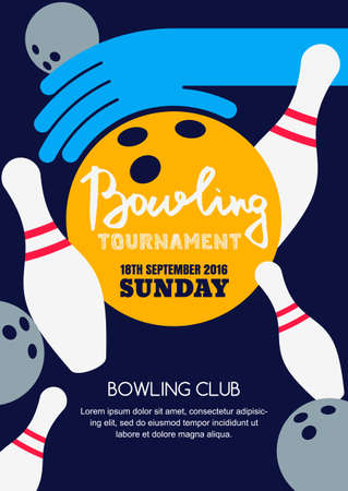 Vector Bowling Square Banner Poster Or Flyer Design Template