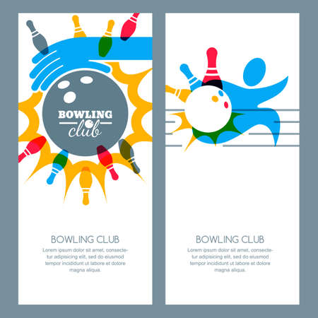 poster backgrounds: Set of bowling banner backgrounds, poster, flyer or label design elements. Abstract vector illustration of bowling game. Multicolor human silhouette, bowling ball and bowling pins.