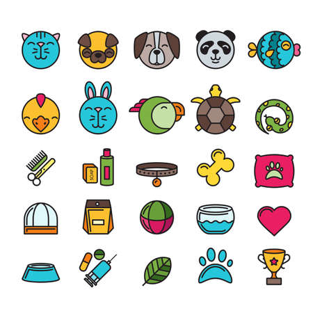 shop for animals: Vector multicolor contour pet shop, zoo or veterinary icons set. Illustration of cat, dog, bird, snake, fish, rabbit, turtle. Goods for animals, Design concept for pets care and grooming.