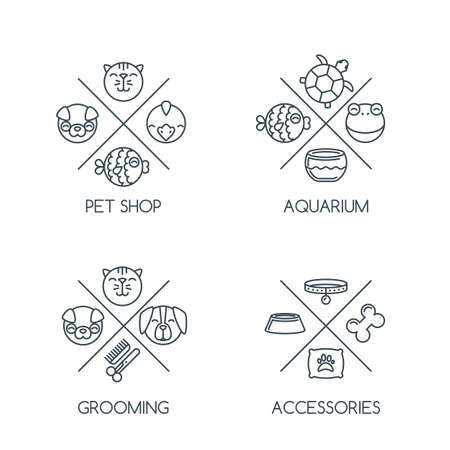 good grooming: Set of pet shop outline, emblem or label design elements.