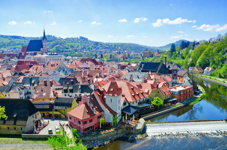 bohemia: Panoramic aerial view of historical center of Cesky Krumlov, Czech Republic. Spring or summer landscape. Stock Photo