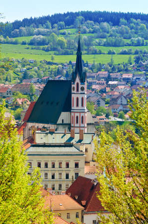 czech: Beautiful view of historical center and tower of Cesky Krumlov, Czech Republic. Spring or summer cityscape. Landmark and architecture of Cesky Krumlov. Stock Photo