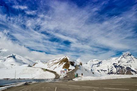 hochalpenstrasse: Beautiful view of Alps mountains. Spring in National Park Hohe Tauern, Austria. Grossglockner high alpine road. Stock Photo