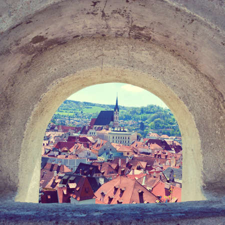 color tone: View of historical center of Cesky Krumlov from castle window. Spring or summer cityscape. Czech Republic travel. Vintage color tone. Stock Photo