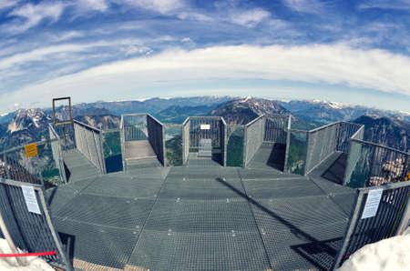 five fingers: Empty Five Fingers viewing platform in Alps, Dachstein. Fisheye lens view. Salzkammergut, Austria. Stock Photo