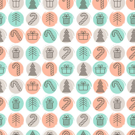 winter trees: New Year, Christmas seamless pattern. Linear icons of gift, tree, candy on watercolor background. Design for winter holidays, flyer, invitation, fashion print, greeting cards, package and wrapping. Illustration