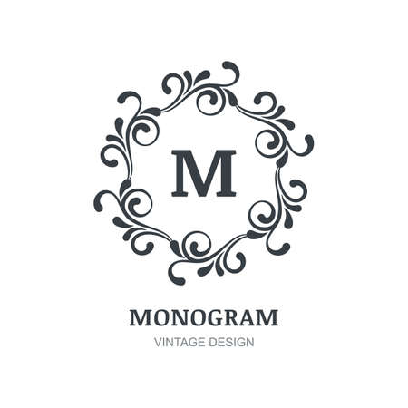 boutique hotel: Vintage vector logo design. Decorative ornament, flourishes frame background. Abstract concept for boutique, hotel, restaurant, floral shop, jewelry, fashion, heraldic, emblem.