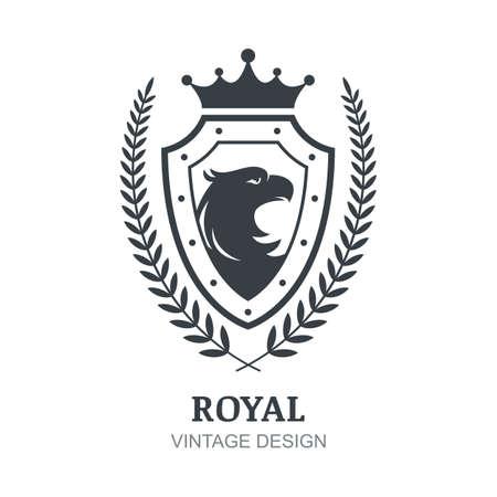 boutique hotel: Modelo del vector. Águila, la corona, el escudo y el símbolo rama de laurel. emblema decorativo de lujo por encanto, hotel, restaurante, heráldico.