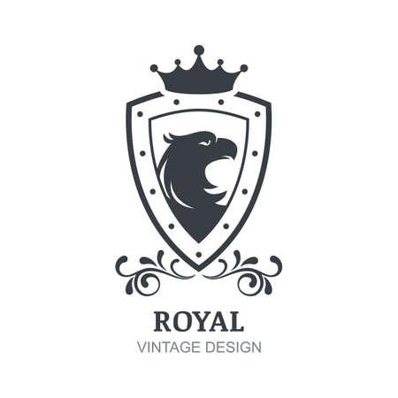 boutique hotel: Vector plantilla de diseño de la vendimia. Águila, la corona, el escudo y el símbolo de corona de laurel. emblema de lujo de encanto, hotel, restaurante, heráldico.