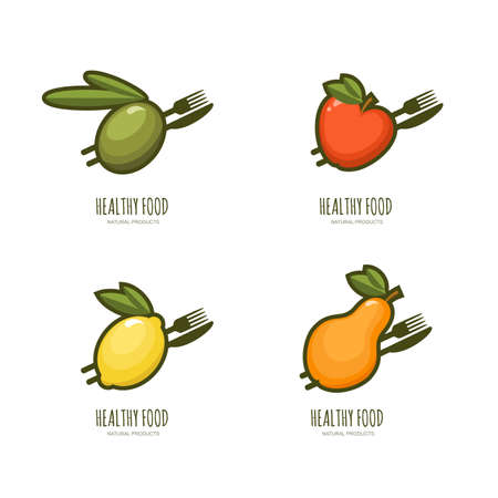 olive farm: Set of vector healthy food  emblem, label design. Olive, apple, lemon, pear with fork and knife, isolated on white. Fresh farm, vegan foods, fruit market and diets concept. Illustration