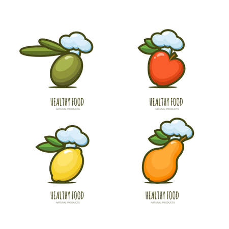 apple isolated: Set of vector healthy food  emblem, label design. Olive, apple, lemon, pear in chef hat, isolated on white. Vegan restaurant, cooking and diets concept.