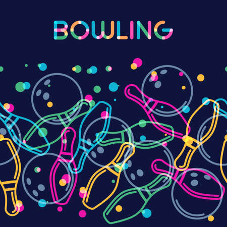 on strike: Vector bowling background with color linear bowling balls and bowling pins. Abstract multicolor illustration.