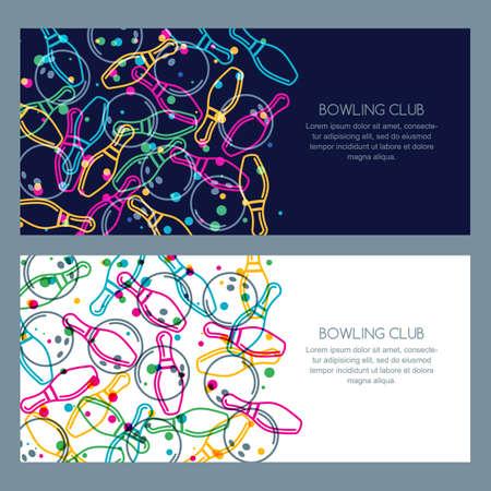 Satz Bowlingspielfahnenhintergründe, Plakat, Flieger oder Aufkleberdesign. Abstrakte Vektorillustration von linearen Bowlingkugeln der Farbe und von Bowlingspielstiften.