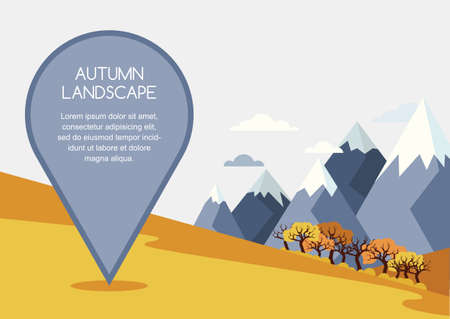 waypoint: Autumn mountains landscape, vector background. Pin mapping mark with place for text. Nature background with golden fields, forest, mountains and travel marker. Travel and tourism concept.