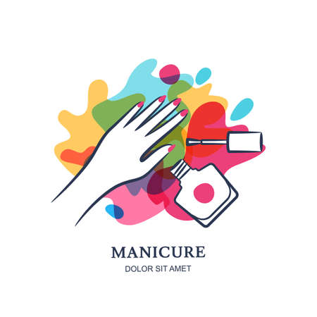 Female hand on color nail polish splash background. Vector label, emblem design elements. Concept for beauty salon, manicure, cosmetic, Womens hand, nail polish jar and brush. 일러스트