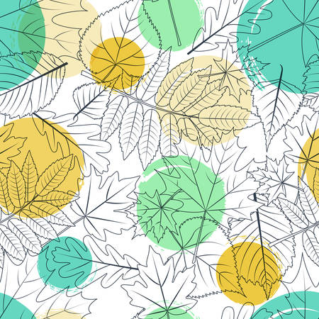 fall leaves on white: Vector autumn leaves and colorful watercolor blots seamless pattern. Black and white background with outline hand drawn leaves. Design for fabric, textile print, wrapping paper. Fall illustration. Illustration